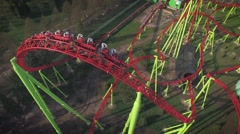Aerial View of Roller Coaster in Amusement Park Arkistovideo
