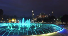 Water fountain in front of Sultan Ahmed Mosque, Istanbul Stock Footage