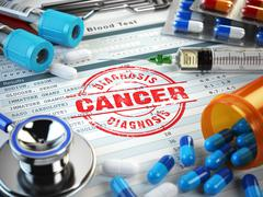 Cancer diagnosis. Stamp, stethoscope, syringe, blood test and pills on the cl Stock Illustration