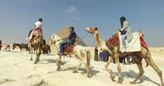 Group of tourist on horses and camels at Giza pyramid complex Stock Footage