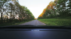 Car point-of-view driving right on road., alley. Look through windscreen - stock footage