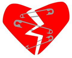Broken Heart and Safety Pins - stock illustration