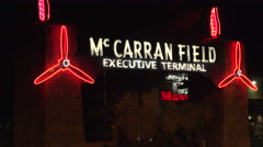 4K: Neon Lights Mark The McCarran Field Executive Terminal Stock Footage