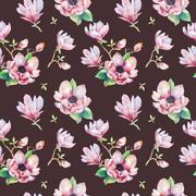 Watercolor seamless wallpaper with  magnolia flowers, leaves - stock illustration