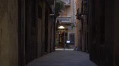 Old dark street view Barcelona. Stock Footage