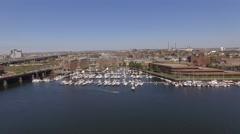 Aerial Boston looking yacht, Massachusetts Stock Footage