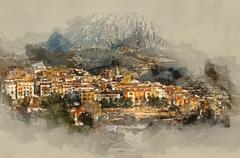 Sella village - stock illustration