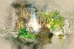 Digital watercolor painting of a beautiful waterfall. Stock Illustration