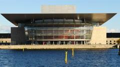 Zoom Out - Copenhagen Opera Theater - Copenhagen Denmark Stock Footage