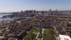 Aerial Bunker Hill Monument, Boston looking downtown, Massachusetts Stock Footage