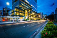 Modern building along University Avenue at night, in Toronto, Ontario. Stock Photos