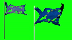 Apocalyptic ragged flag of Europe. Realistyc 3d animation on wind. green screen Stock Footage