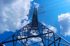 Power line tower - stock photo