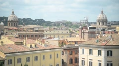 Rome - panorama view of houses and roofs of cathedrals dome Stock Footage