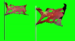 Apocalyptic ragged flag of China. Realistyc 3d animation on wind. green screen Stock Footage