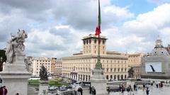 Tourists Rome, Italy, Piazza Venezia, Vittoriano Or Altere Della Patria Monument - stock footage