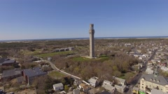 Aerial Provincetown, Pilgrim Monument, Massachusetts Stock Footage