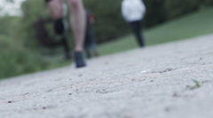 Running shoes closeup slow motion 240fps - stock footage