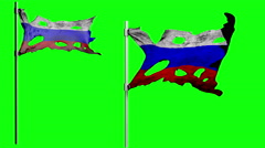 Apocalyptic ragged flag of Russia. Realistyc 3d animation on wind. green screen Stock Footage