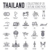 Country thailand travel vacation guide of goods, place and feature. Set of - stock illustration