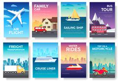 Variations transport of travel vacation tour guide infographic. Cruise, bus - stock illustration
