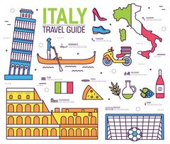 Country Italy trip guide of goods, places in thin lines style design. Set of Stock Illustration