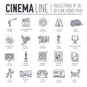 Premium quality cinema industry thin line design set. Filming minimalistic - stock illustration