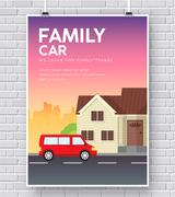 Family car with house home illustration concept on brick wall background - stock illustration