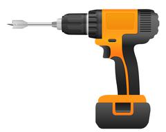 Electric drill and bit Stock Illustration