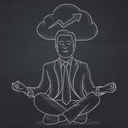 Peaceful businessman meditating Stock Illustration