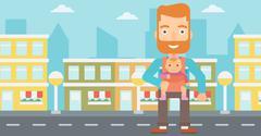 Man holding baby in sling - stock illustration