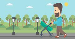 Father pushing pram - stock illustration
