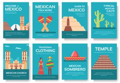 Country Mexico travel vacation guide of goods, places and features. Set of - stock illustration
