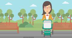 Woman pushing pram Stock Illustration