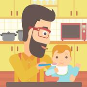 Man feeding baby - stock illustration