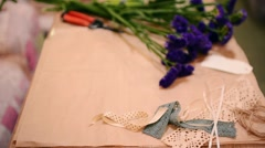 Florist's Workspace Ready to Design Nice Spring Bouquet. Stock Footage