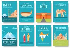 Country India travel vacation guide of goods, places and features. Set of - stock illustration