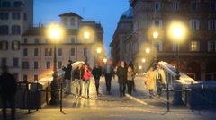 Night life of Rome, Italy - time laps video - people and traffic - stock footage