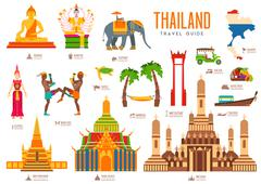 Country thailand travel vacation guide of goods, places and features. Set of Stock Illustration