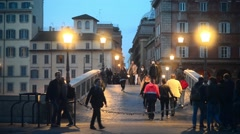 Rome, Italy at Night - ancient bridge Sisto over the Tiber river Stock Footage