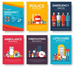 Firefighter, rafting, police, medicine rescue cards template set. Flat design - stock illustration
