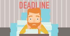 Man having problem with deadline - stock illustration