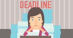 Woman having problem with deadline - stock illustration