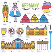 Country Germany travel vacation guide of goods, places and features. Set of - stock illustration