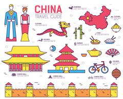 Country China travel vacation guide of goods, places in thin lines style design - stock illustration