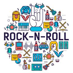 ROCK N ROLL circle outline icons collection set.  Music equipment linear symbol Stock Illustration