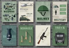 Cards of military equipment cards. Army template of flyear, Magazines, posters Stock Illustration