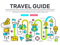 Travel infographic icons items design. Vacation rest with any elements set. Tour Stock Illustration