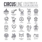 Premium quality circus outline icons collection set.  Festival linear symbol - stock illustration