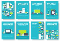 Home appliances cards set. Electronics template of flyear, magazines, posters Stock Illustration